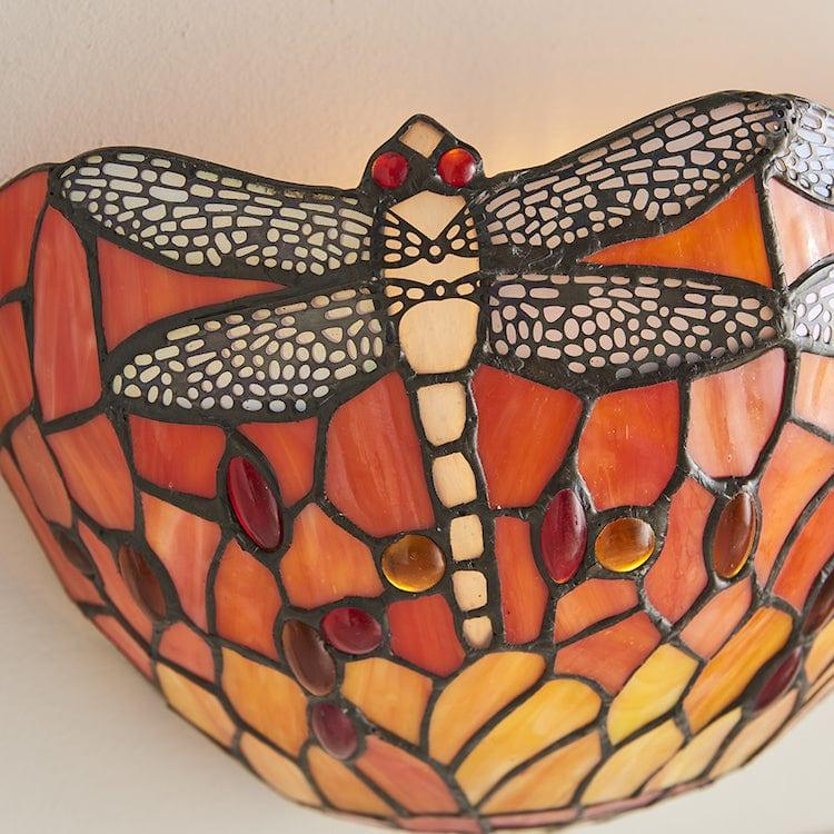 Flame Dragonfly Tiffany Wall Light 64103