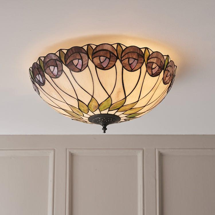 Tiffany Ceiling Flush & Semi Flush Lights - Hutchinson Large Tiffany 2 Light Flush Ceiling Light 64173