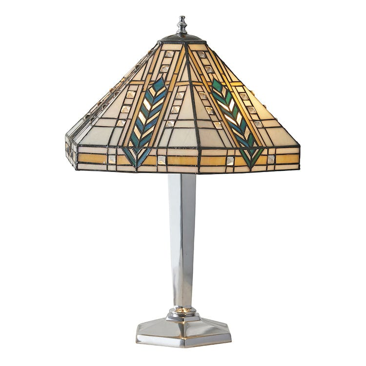 Large Tiffany Lamps - Lloyd Tiffany Lamp With Nickel Base 64241
