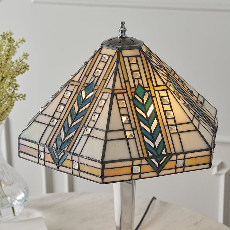 Lloyd Tiffany Lamp with Polished Aluminium Base 64241