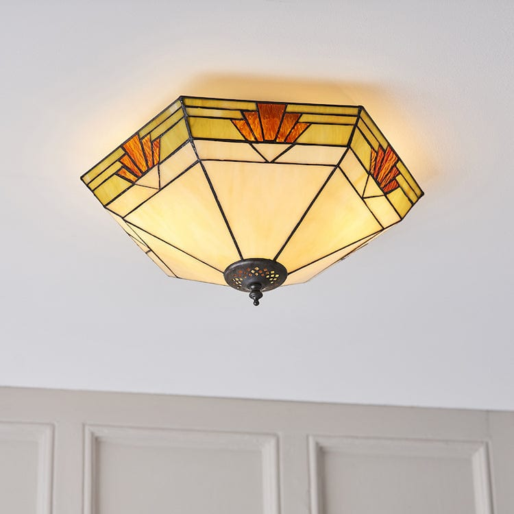 Tiffany Ceiling Flush & Semi Flush Lights - Nevada Large Tiffany 2 Light Flush Ceiling Light 64284
