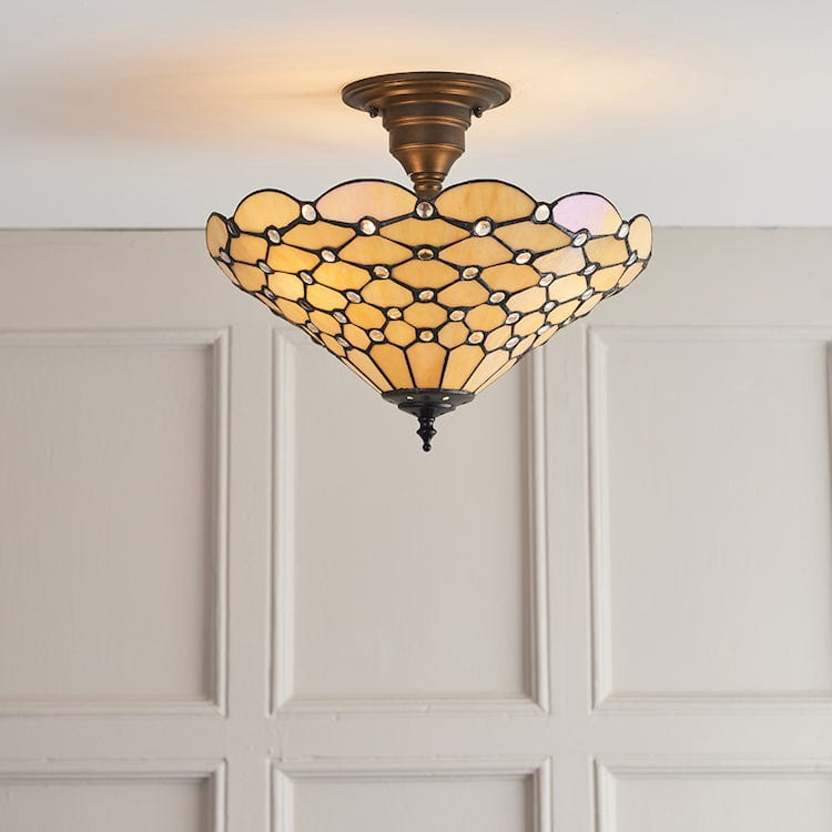 Tiffany Ceiling Flush & Semi Flush Lights - Pearl Medium Tiffany 3 Light Semi-Flush Ceiling Light 64300