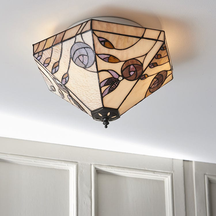 Damselfly Medium Flush Tiffany Ceiling Light
