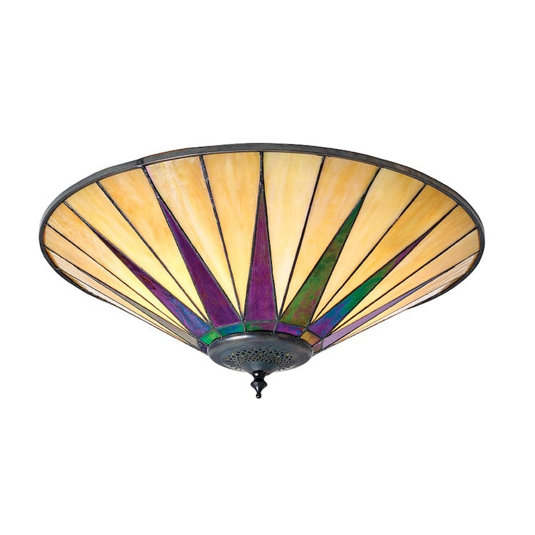 Tiffany Ceiling Flush & Semi Flush Lights - Dark Star Large Tiffany 2 Light Flush Ceiling Light 70240