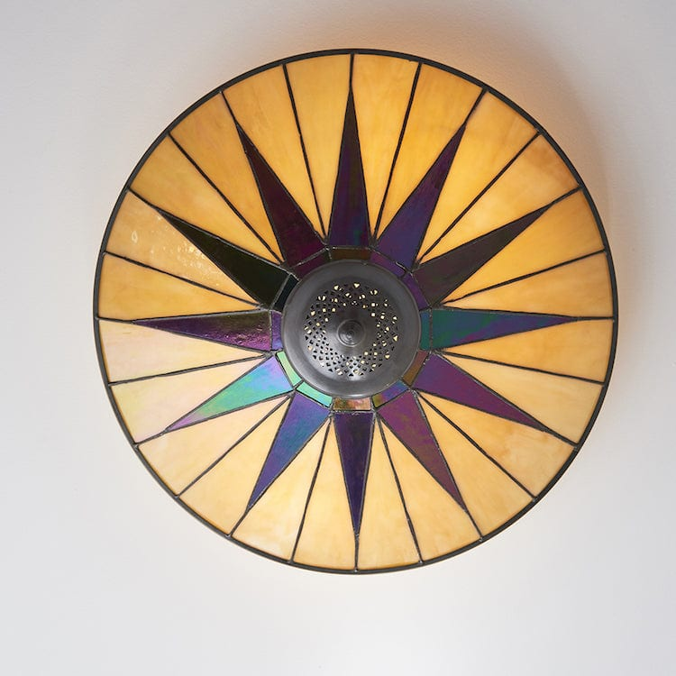 Dark Star Large Flush Tiffany Ceiling Light