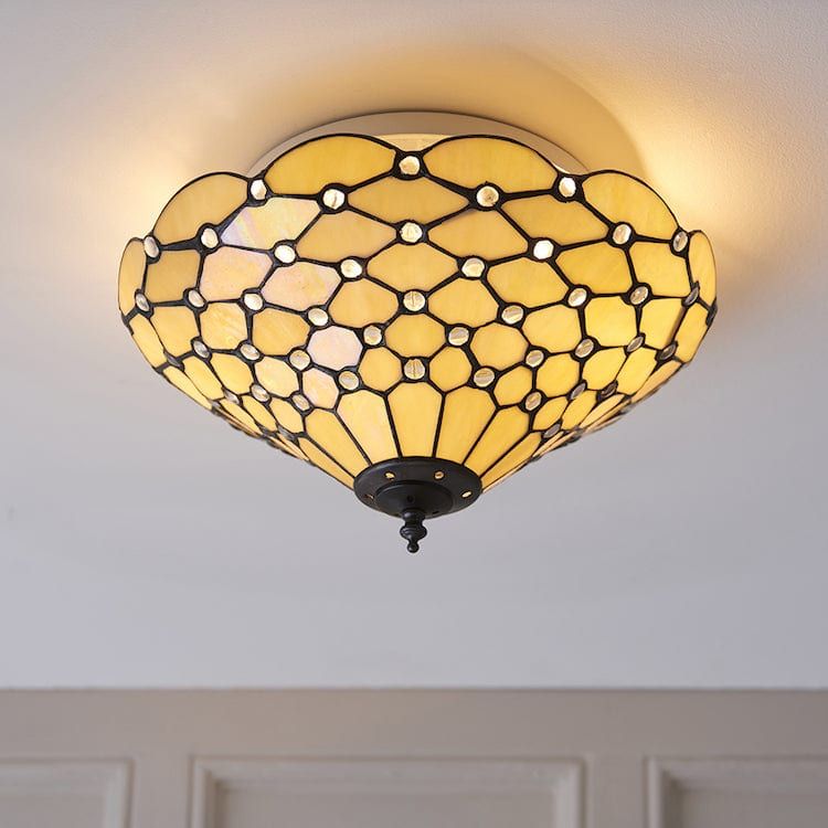 Tiffany Ceiling Flush & Semi Flush Lights - Pearl Medium Tiffany 2 Light Flush Ceiling Light 70242