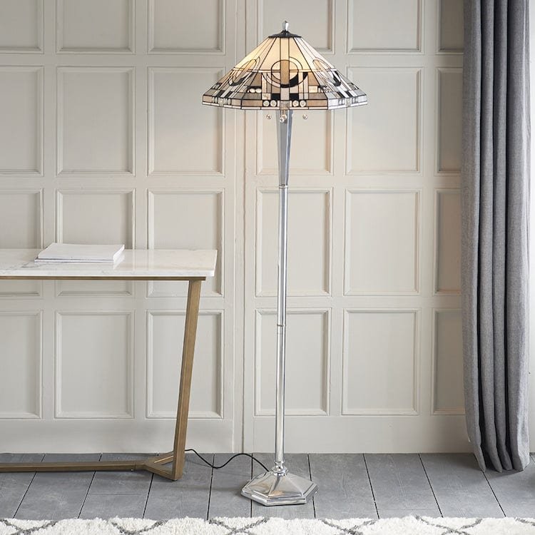 Tiffany Floor Lamps - Metropolitan Tiffany Floor Lamp With Aluminium Base 70661