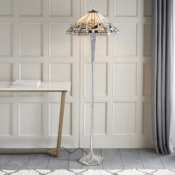 Metropolitan Tiffany Floor Lamp with Aluminium Base 70661 *