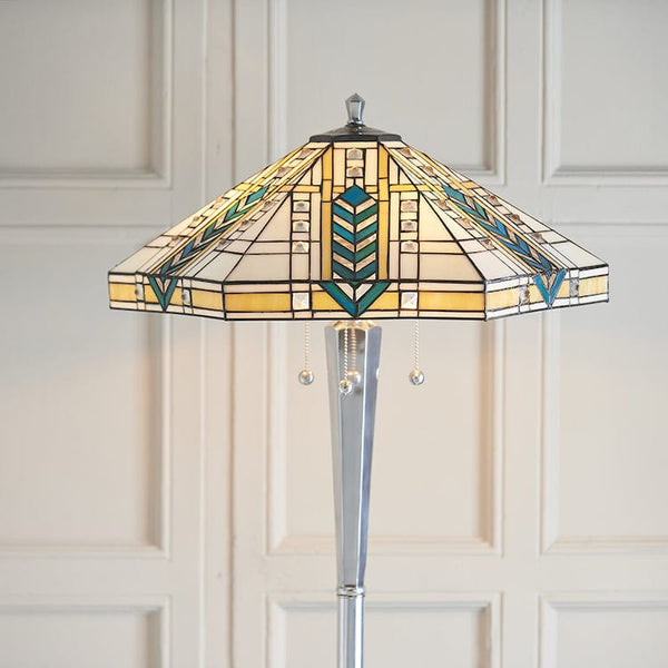 Lloyd Tiffany Floor Lamp with Nickel Base 70663  *