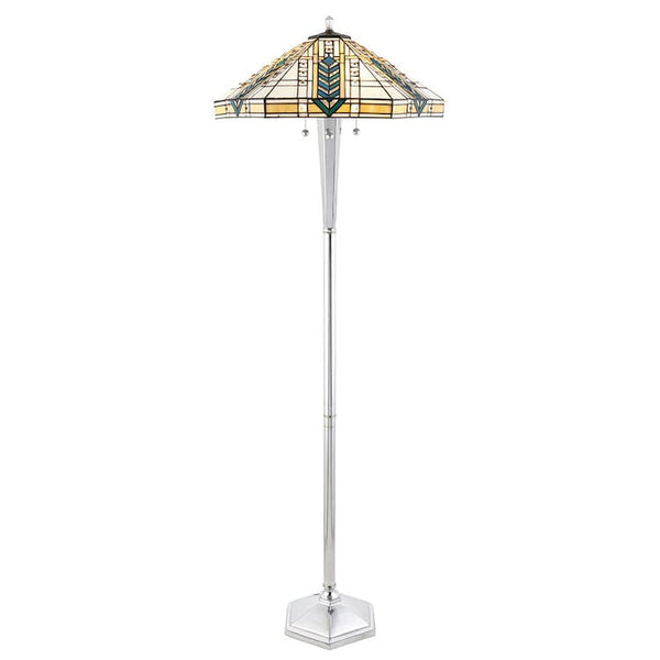 Tiffany Floor Lamps - Lloyd Tiffany Floor Lamp With Nickel Base 70663