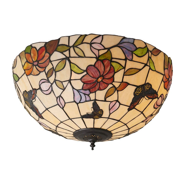 Tiffany Ceiling Flush & Semi Flush Lights - Butterfly Tiffany Large 2 Light Flush Ceiling Light 70715