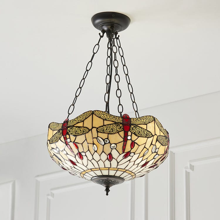 Inverted Ceiling Pendant Lights - Beige Dragonfly Medium 3 Light Inverted Pendant Light 70759