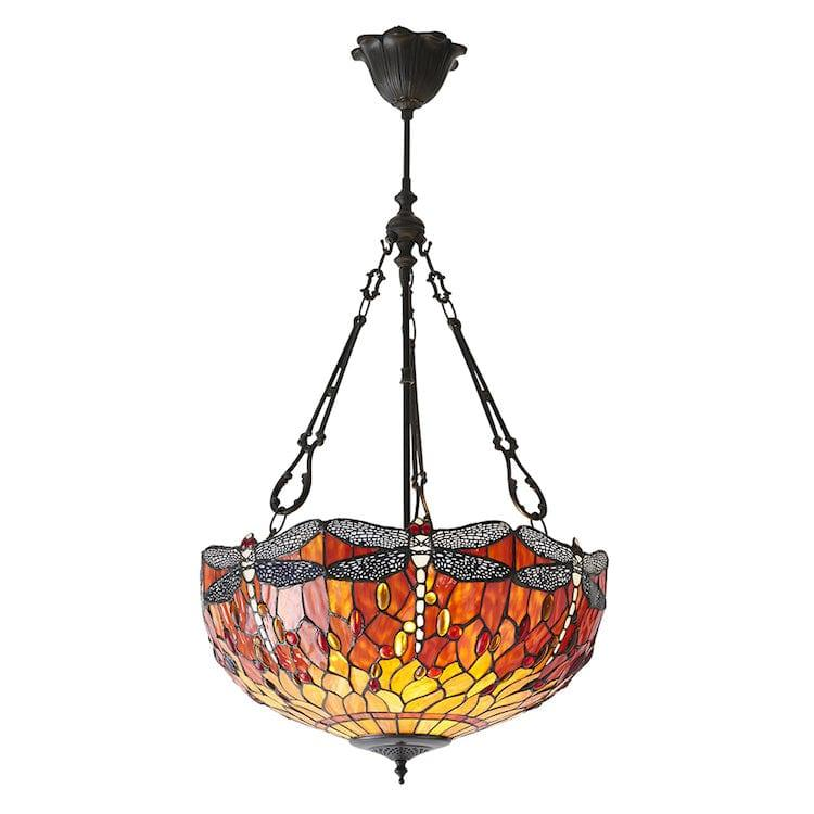 Inverted Ceiling Pendant Lights - Flame Dragonfly Large 3 Light Inverted Pendant Light (fancy Chain) 70762