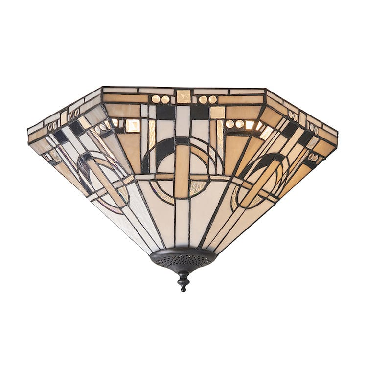 Tiffany Ceiling Flush & Semi Flush Lights - Metropolitan Medium Tiffany 2 Light Flush Ceiling Light 70779