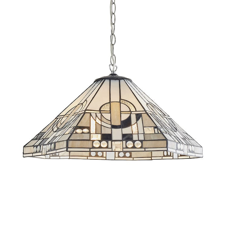 Tiffany Ceiling Pendant Lights - Metropolitan Large Tiffany 3 Light Ceiling Pendant Light 70895 (aluminium Fitting)