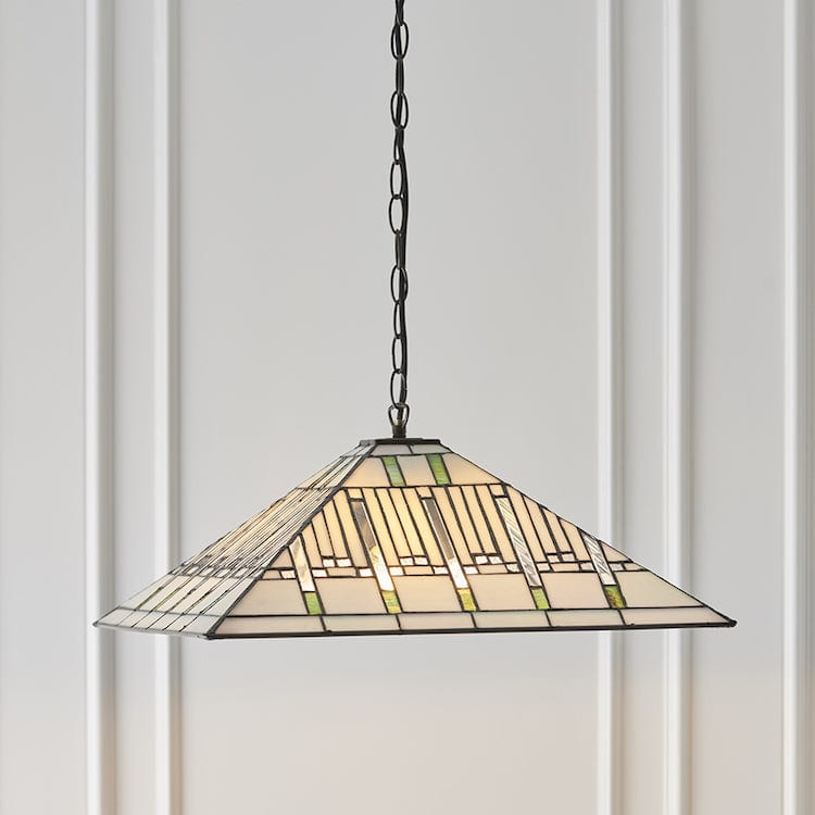 Tiffany Ceiling Pendant Lights - Mission Large Tiffany Ceiling Pendant Light,Adjustable Chain,3 Bulb Fitting 68752 + SU02/3