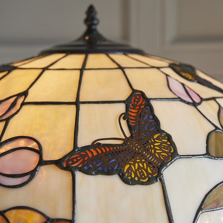 Tiffany Floor Lamps - Butterfly Tiffany 2 Light Floor Lamp 70944