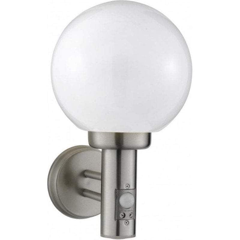 Searchlight Orb Stainless Steel Outdoor PIR Wall Light by Searchlight Outdoor Lighting