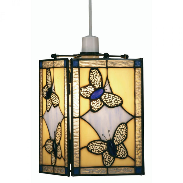 Tiffany Non Electric Pendants - Butterfly Tiffany Blue Easy Fit Non Electric Lantern OT 26 BL