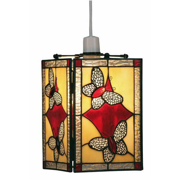 Tiffany Non Electric Pendants - Butterfly Tiffany Red Easy Fit Non Electric Lantern OT 26 RD