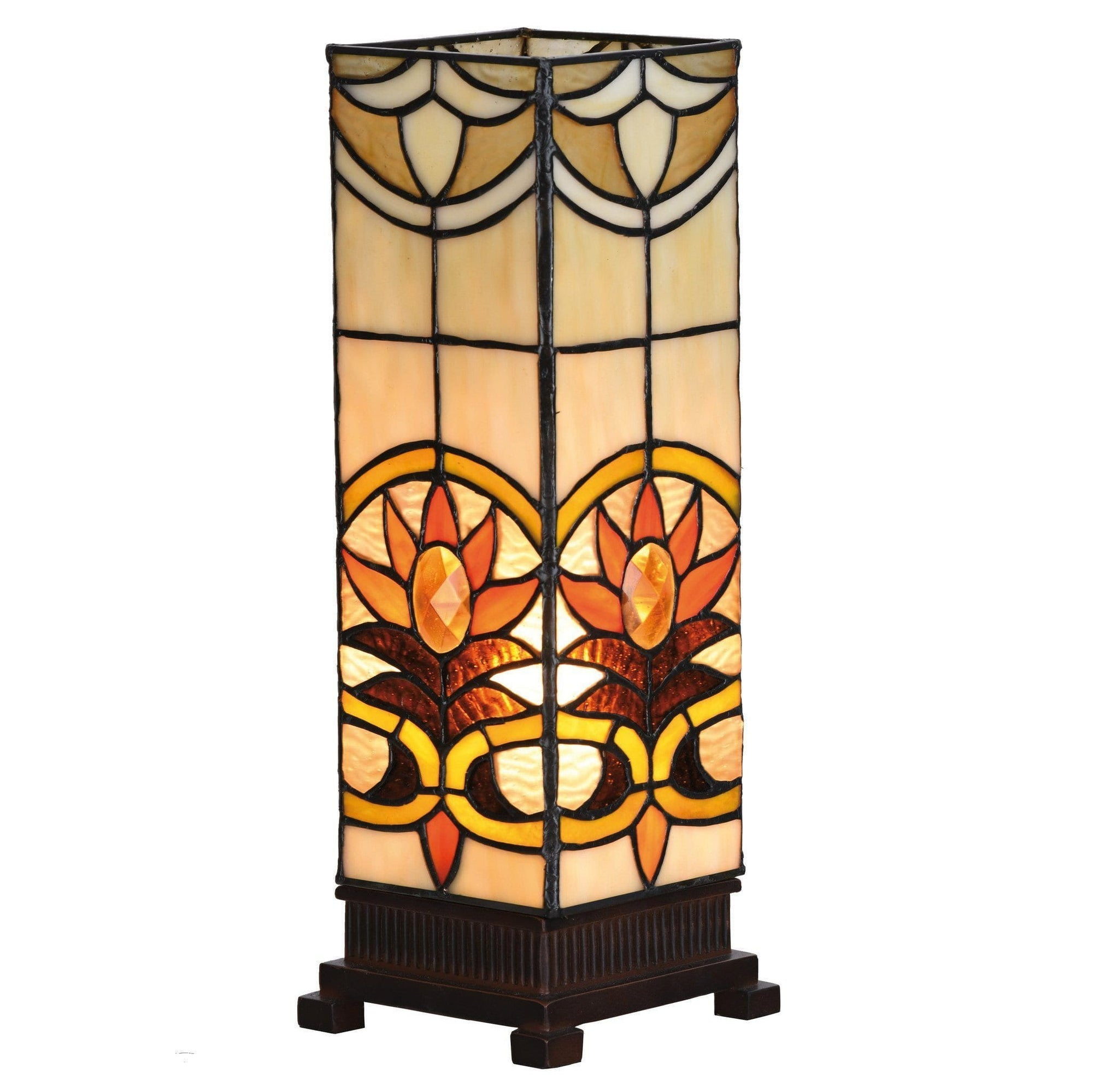 Tiffany Square Table Lamps - Aintree Medium Square Tiffany Lamp