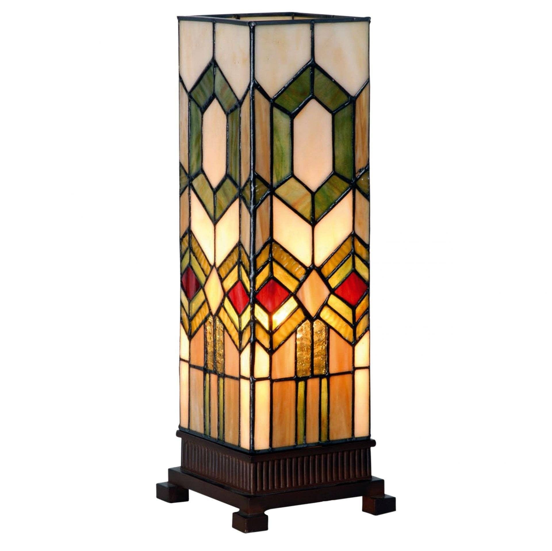 Tiffany Square Table Lamps - Chicago Medium Tiffany Square Table Lamp