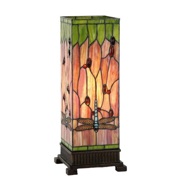 Tiffany Square Table Lamps - Flame Dragonfly Tiffany Large Square Table Lamp