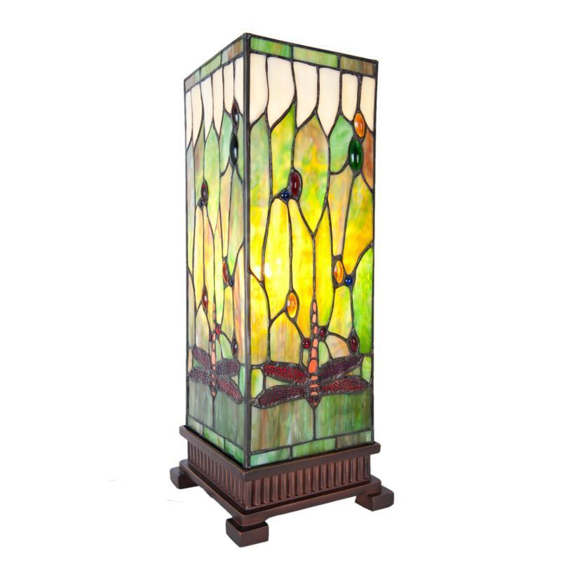 Tiffany Square Table Lamps - Imperial Dragonfly Large Square Tiffany Lamp