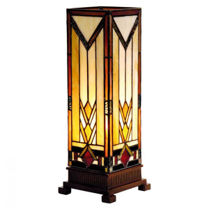 Tiffany Square Table Lamps - Prairie Medium Tiffany Square Table Lamp