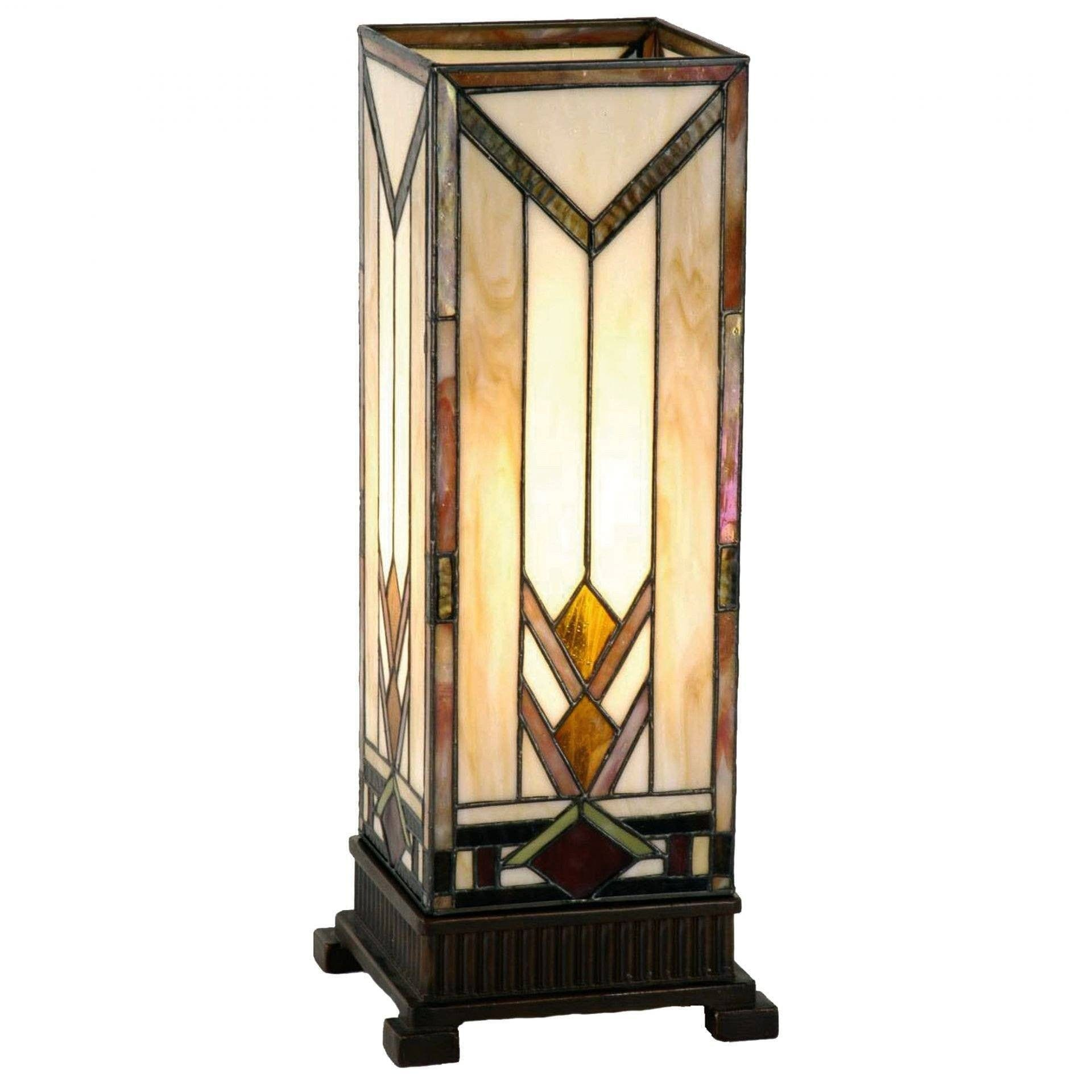 Tiffany Square Table Lamps - Prairie Tiffany Large Square Table Lamp
