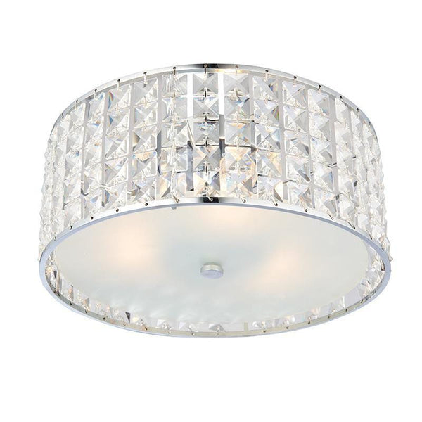Traditional Bathroom Lights - Belfont Clear Crystal And Chrome Finish Flush Bathroom Ceiling Light 61252