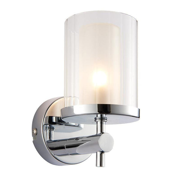 Traditional Bathroom Lights - Britton Chrome Finish With Clear And Frosted Glass Bathroom Wall Light 51885