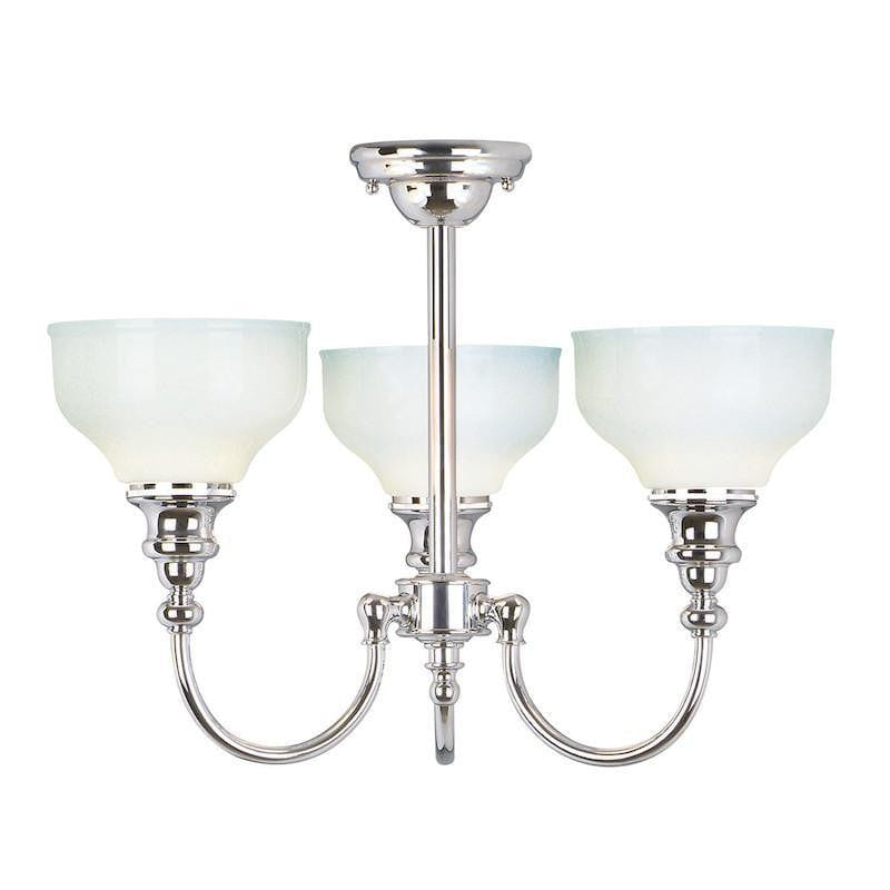 Traditional Bathroom Lights - Cheadle Polished Chrome Finish 3 Light Semi Flush Bathroom Ceiling Light BATH/CD3