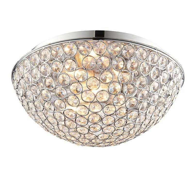 Traditional Bathroom Lights - Chryla Clear Crystal And Chrome Finish Flush Bathroom Ceiling Light 60103