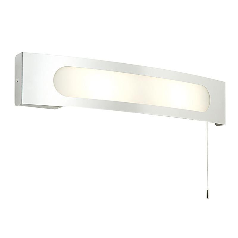 Traditional Bathroom Lights - Convesso Polished Stainless Steel And Frosted And White Glass Bathroom Shaver Light 39148
