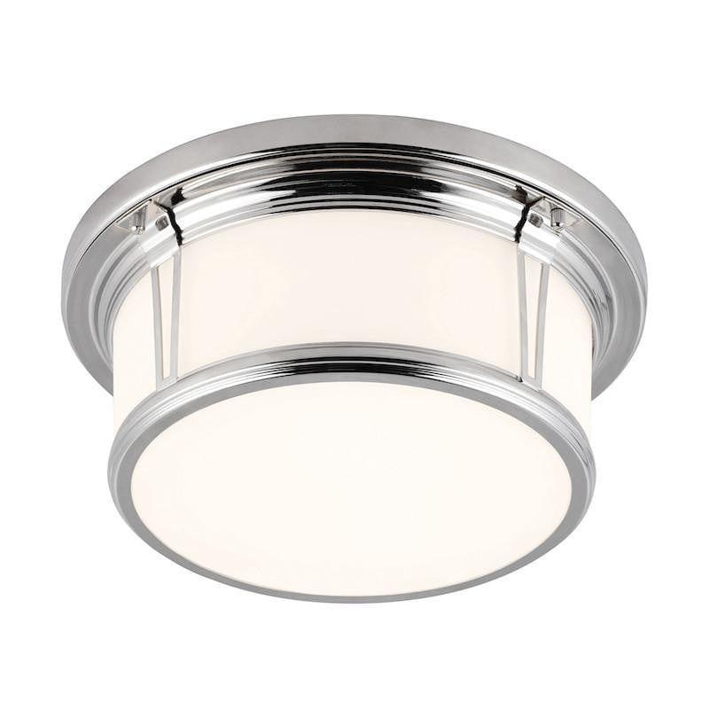 Traditional Bathroom Lights - Feiss Woodward Polished Nickel Finish Flush Bathroom Ceiling Light FE/WOODWARD/F/M