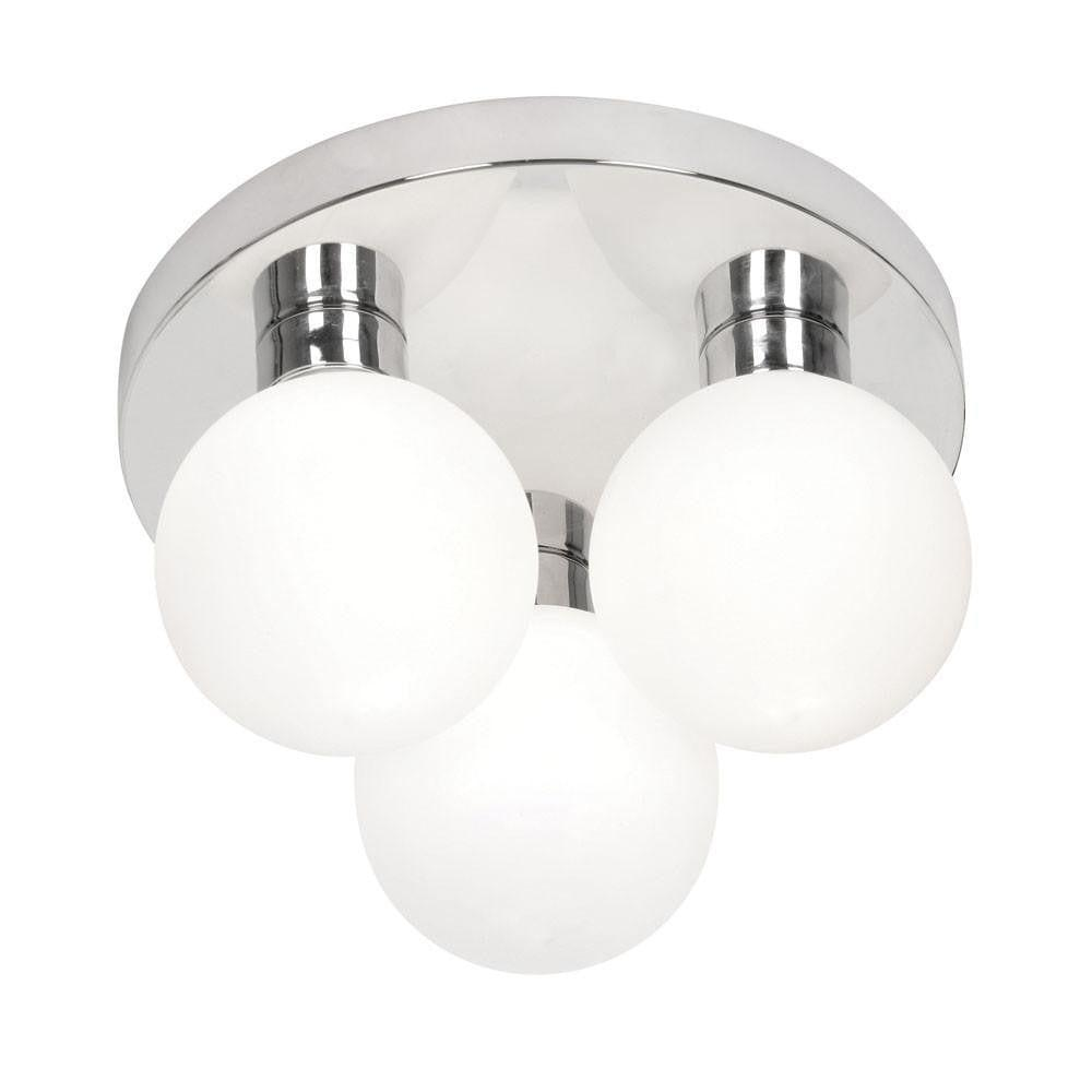 Flen Chrome Finish Flush Bathroom Ceiling Light 8979/3 CH
