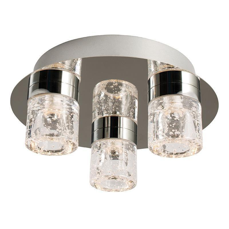 Traditional Bathroom Lights - Imperial Chrome & Clear Glass With Bubbles Flush 3 Light LED Bathroom Ceiling Light 61359