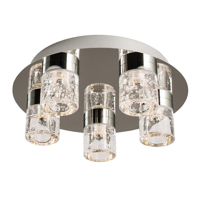 Imperial Chrome & Clear Glass With Bubbles Flush 5 Light LED Bathroom