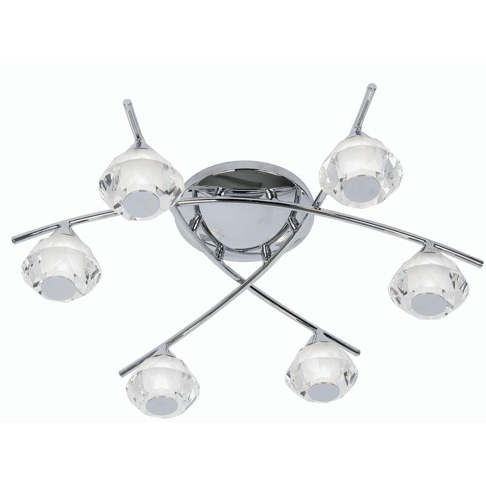 Traditional Bathroom Lights - Meissa Chrome Finish 6 Light Semi Flush Bathroom Ceiling Light 7933/6 CH