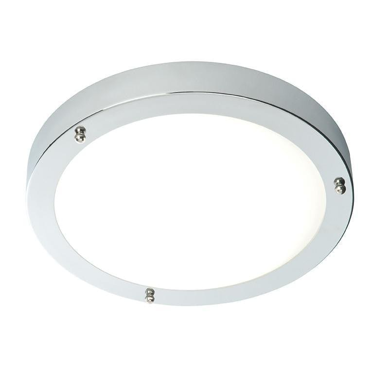 Traditional Bathroom Lights - Portico Chrome Finish And Frosted Glass Flush LED Bathroom Ceiling Light 54676