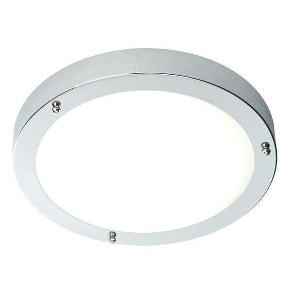 Traditional Bathroom Lights - Portico Satin Nickel Finish And Frosted Glass Flush Bathroom Ceiling Light 12421