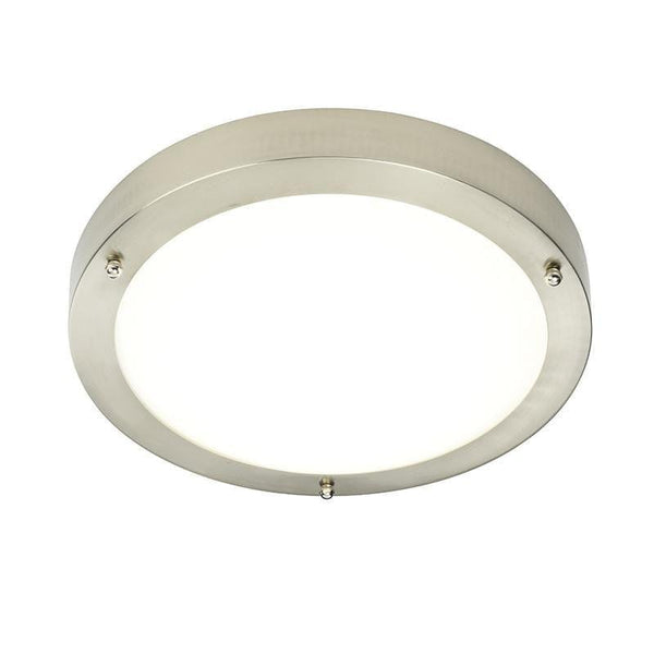 Traditional Bathroom Lights - Portico Satin Nickel Finish And Frosted Glass Flush LED Bathroom Ceiling Light 54675