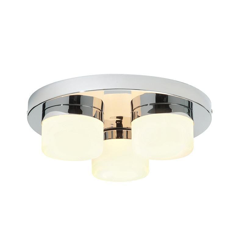 Traditional Bathroom Lights - Pure Chrome Finish And Matt Opal Duplex Glass Flush Bathroom Ceiling Light 34200