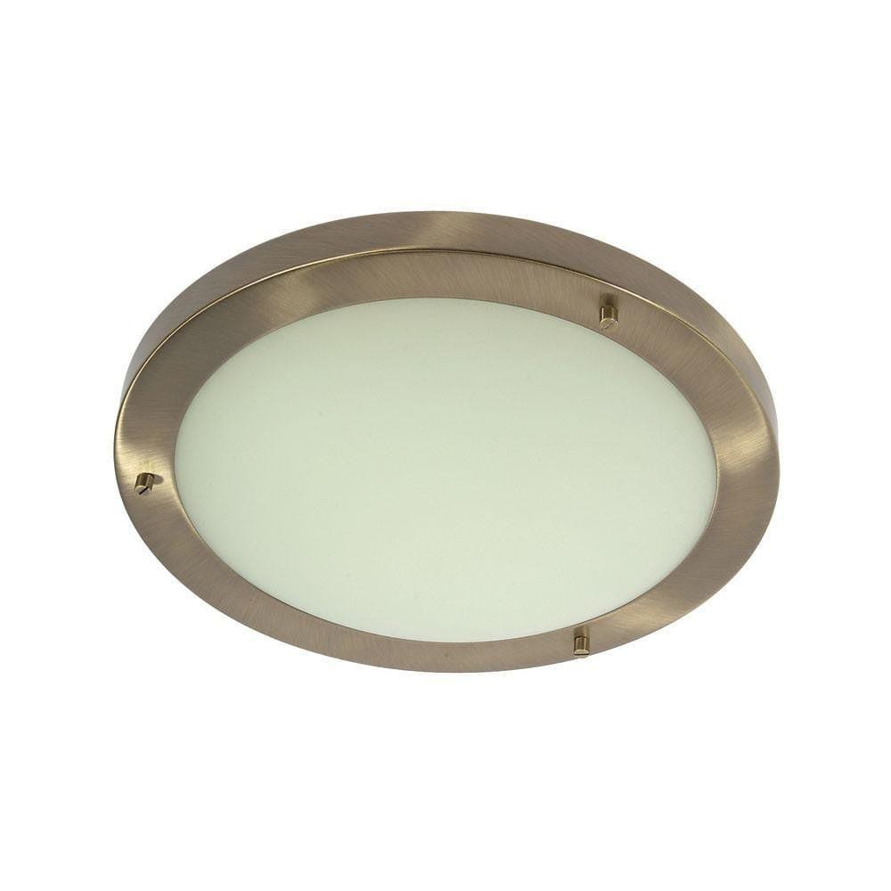Traditional Bathroom Lights - Rondo Antique Brass Finish Large Flush Bathroom Ceiling Light RONDO/30 AB