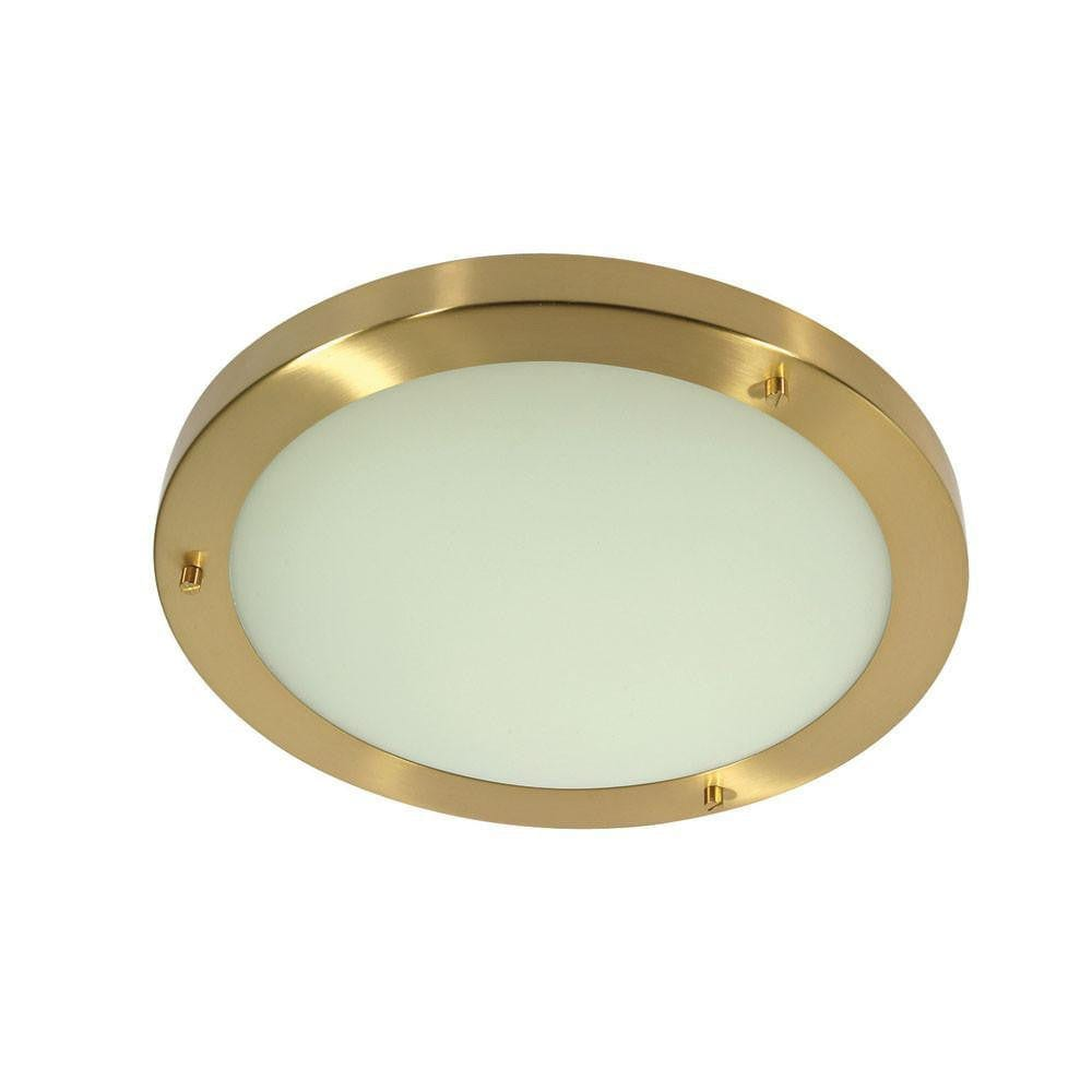 Traditional Bathroom Lights - Rondo Satin Brass Finish Large Flush Bathroom Ceiling Light RONDO/30 SB