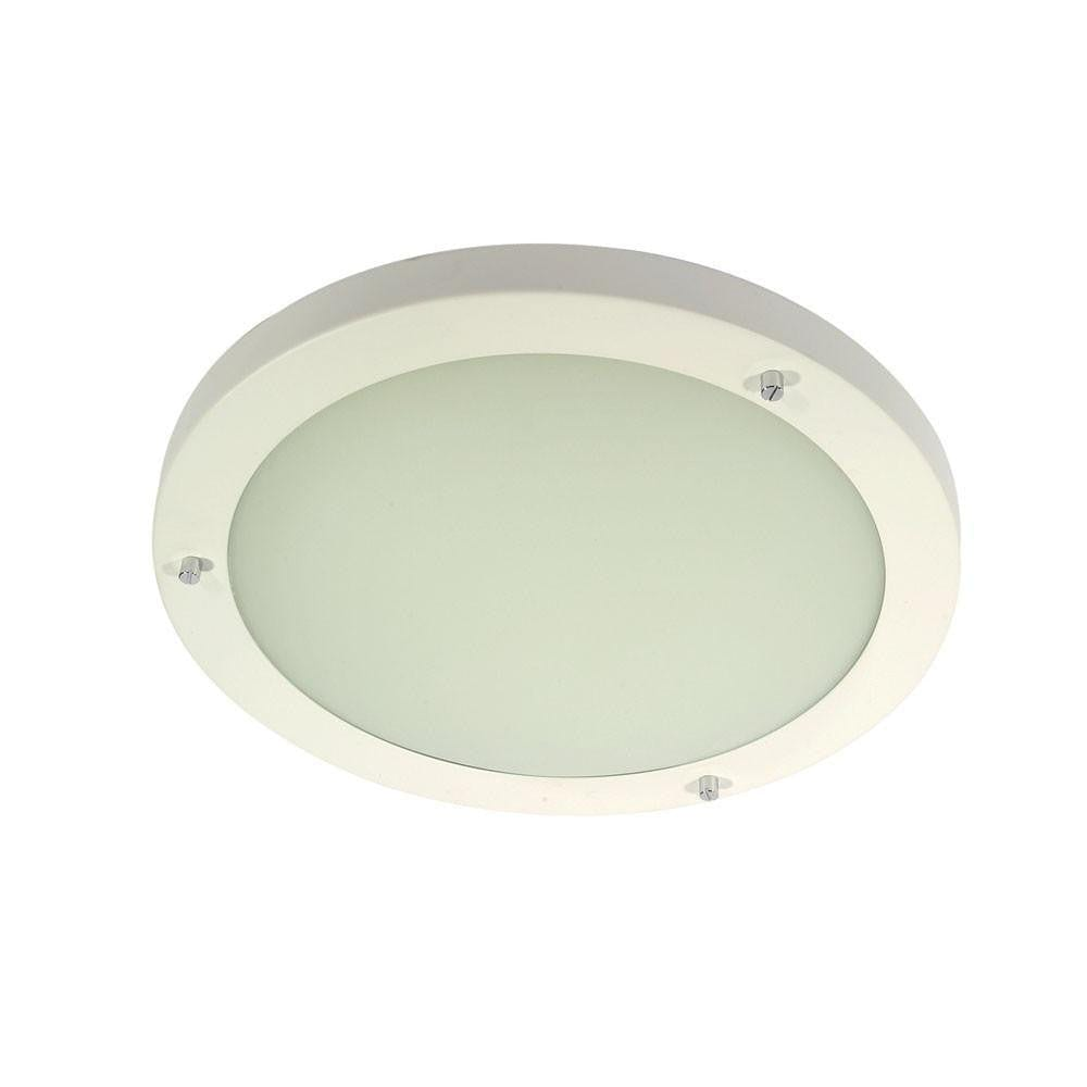 Traditional Bathroom Lights - Rondo White Large Flush Bathroom Ceiling Light RONDO/18 WH