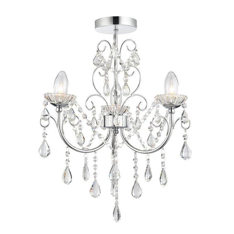 Traditional Bathroom Lights - Tabitha Clear Crystal Glass And Chrome Finish 3 Light Bathroom Ceiling   Light 61251