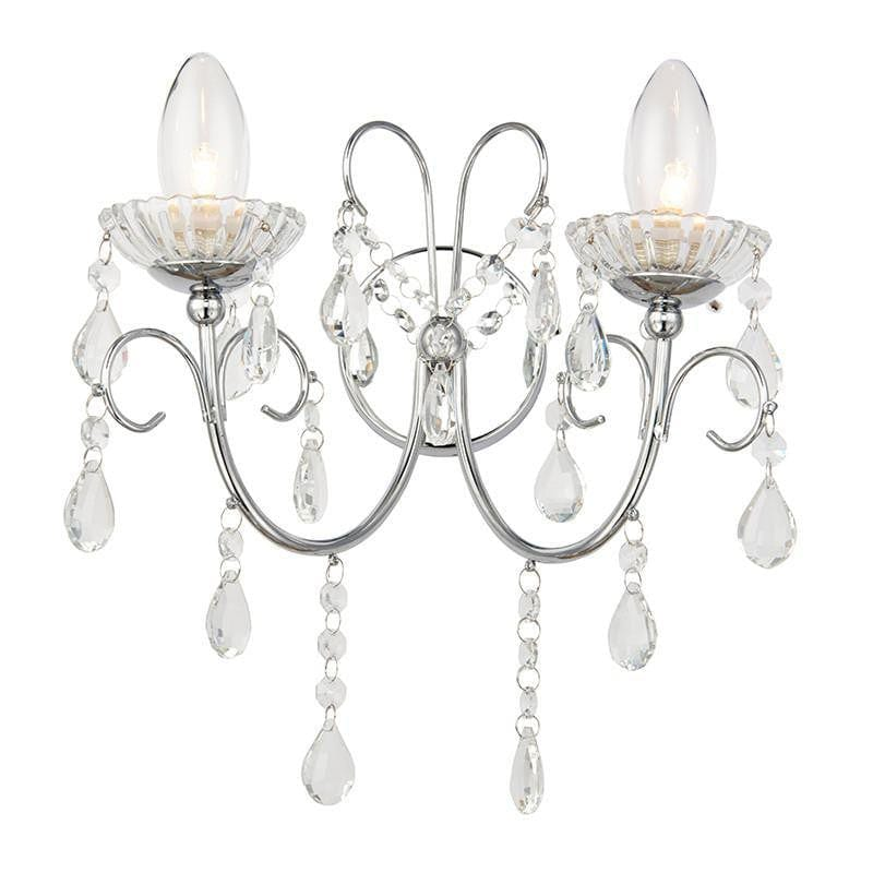 Traditional Bathroom Lights - Tabitha Clear Crystal Glass And Chrome Finish Twin Arm Bathroom Ceiling Wall Light 61385