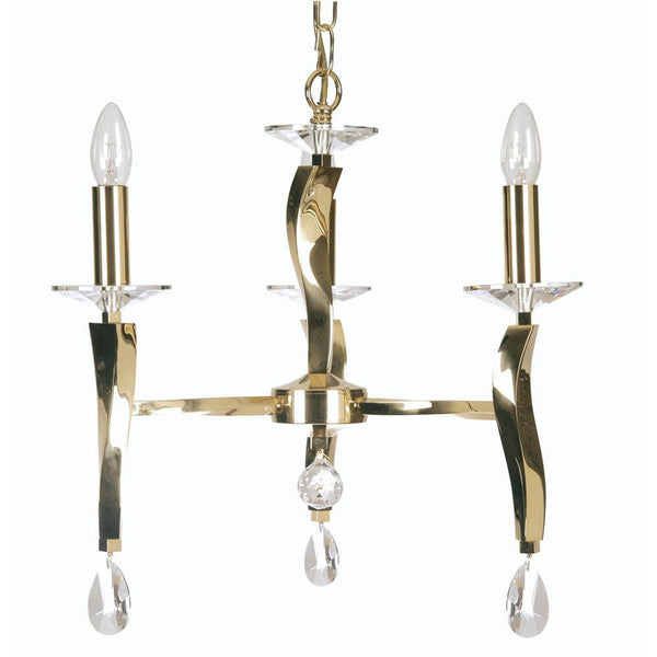 Traditional Ceiling Pendant Lights - Aire Cast Brass 3 Light Chandelier With Gold Plate 719/3 GO